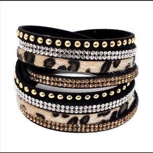 Leopard wrap and snap bracelets